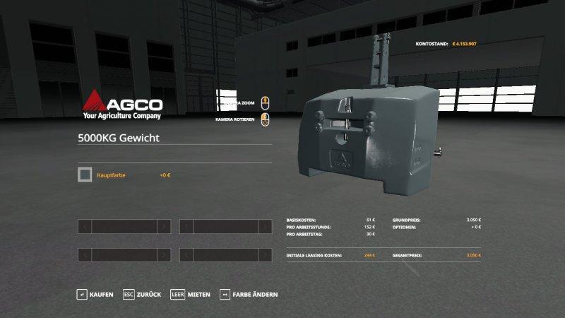 agco gewicht 5000 kg v1 0 fs19 landwirtschafts simulator. Black Bedroom Furniture Sets. Home Design Ideas